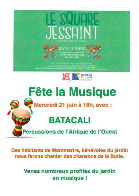 fete de la musique, square de Jessaint, Paris 18e
