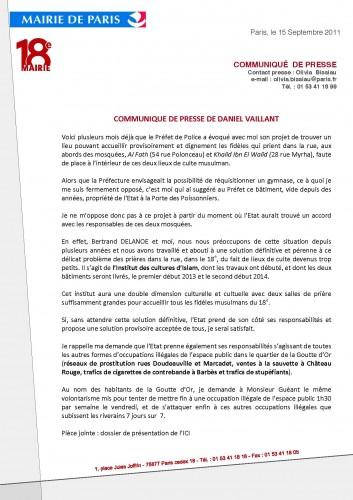 paris, 18e, Daniel-Vailant, communiqué-de-presse, garage -des-pompiers, bd-ney, prières-de-rue, institut-des-cultures-d'islam