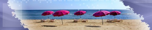 vacances, plage, parasols