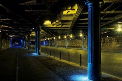 éclairage, sous viaduc