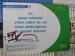 paris, 18e, square-jessaint, panneau