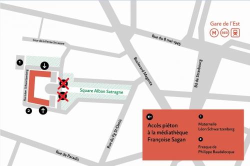 plan accès médiathèque françoise Sagan (accès satragne fermé).jpg